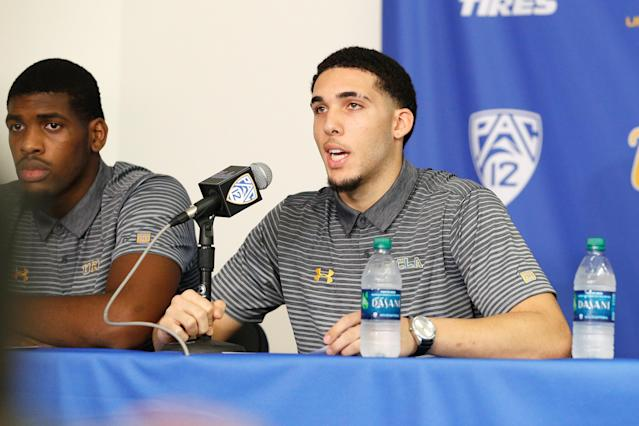 LiAngelo Ball and teammates Jalen Hill and Cody Riley made their first public comments Wednesday at Pauley Pavilion. (Getty Images)