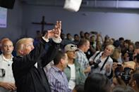 "<p>Trump <a href=""https://people.com/politics/donald-trump-throws-paper-towels-hurricane-maria-survivors-puerto-rico/"" rel=""nofollow noopener"" target=""_blank"" data-ylk=""slk:throws packages of paper towels"" class=""link rapid-noclick-resp"">throws packages of paper towels</a> into a crowd of Hurricane Maria survivors in Gauynabo, Puerto Rico, on Oct. 3, 2017, weeks after the storm wreaked havoc there.</p> <p>The commander-in-chief was widely criticized for his response to the devastation in Puerto Rico, withholding funds to help the U.S. territory in part because he believed the island had ""thrown our budget a little out of whack,"" <a href=""https://people.com/politics/donald-trump-throws-paper-towels-hurricane-maria-survivors-puerto-rico/"" rel=""nofollow noopener"" target=""_blank"" data-ylk=""slk:he said during the Oct. 3 visit"" class=""link rapid-noclick-resp"">he said during the Oct. 3 visit</a>. He also believed Puerto Rico was receiving too much rebuilding money when compared to other hurricane hotspots like Texas and Florida, <a href=""https://apnews.com/article/df711dcff96a41218161a452340f0325"" rel=""nofollow noopener"" target=""_blank"" data-ylk=""slk:per the AP"" class=""link rapid-noclick-resp"">per the AP</a>. The president <a href=""https://people.com/politics/donald-trump-throws-paper-towels-hurricane-maria-survivors-puerto-rico/"" rel=""nofollow noopener"" target=""_blank"" data-ylk=""slk:butted heads in particular with the mayor of San Juan"" class=""link rapid-noclick-resp"">butted heads in particular with the mayor of San Juan</a>, disagreeing on the death toll and FEMA response to the crisis.</p>"