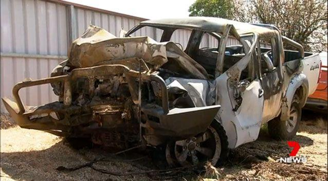 The ute burst int flames 90 seconds after its driver was pulled to safety. Picture: 7 News