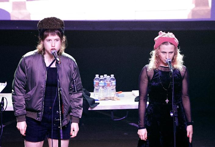 Nastya (L) and Maria Alyokhina of Russian Band Pussy Riot perform onstage at the Fonda Theater in Hollywood, California (AFP Photo/VALERIE MACON)