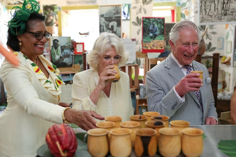 Prince Charles and Camilla visit House of Chocolate with Governor General Cecile La Grenade (REUTERS)