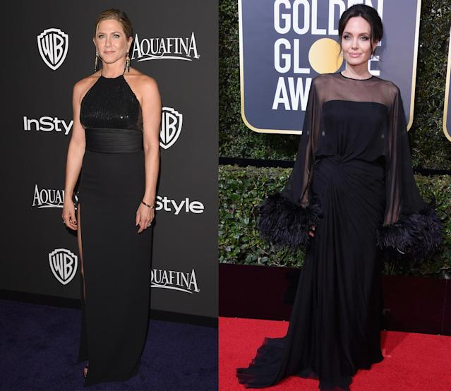 An image (below) of Angelina Jolie (above right) apparently avoiding Jennifer Aniston (above left) at the Golden Globes has gone viral. (Photo: Getty Images)