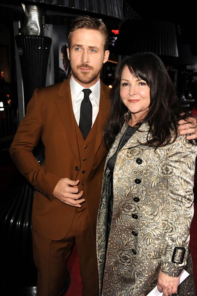 """HOLLYWOOD, CA - JANUARY 07:  Actor Ryan Gosling and Donna Gosling arrive at Warner Bros. Pictures' """"Gangster Squad"""" premiere at Grauman's Chinese Theatre on January 7, 2013 in Hollywood, California.  (Photo by Kevin Winter/Getty Images)"""