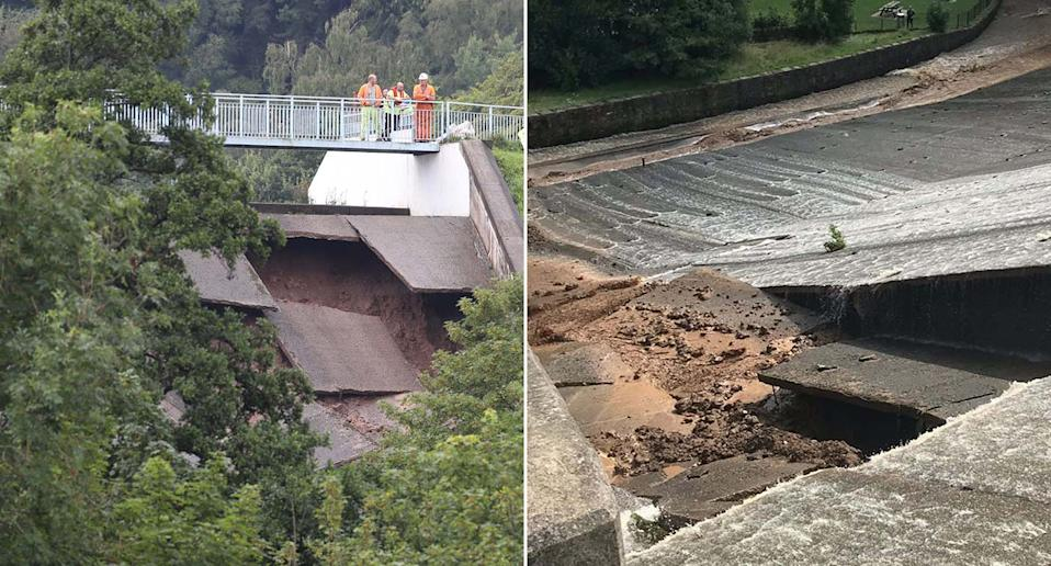 Images show structural damage to the dam, which holds back the Toddbrook Reservoir in Derbyshire (PA)