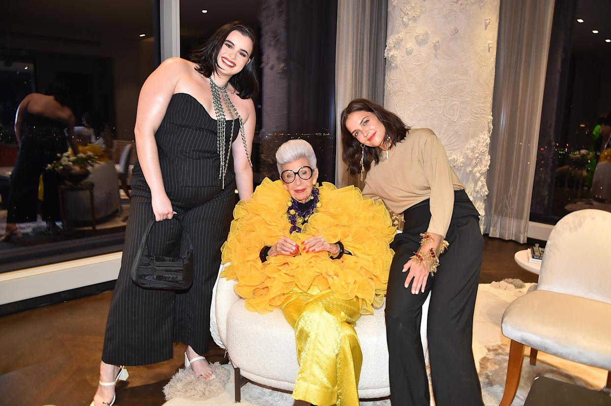 NEW YORK, NEW YORK - SEPTEMBER 09: Barbie Ferreira, Iris Apfel and Katie Holmes attend Iris Apfel's 100th Birthday Party at Central Park Tower on September 09, 2021 in New York City. (Photo by Patrick McMullan/Patrick McMullan via Getty Images for Central Park Tower)