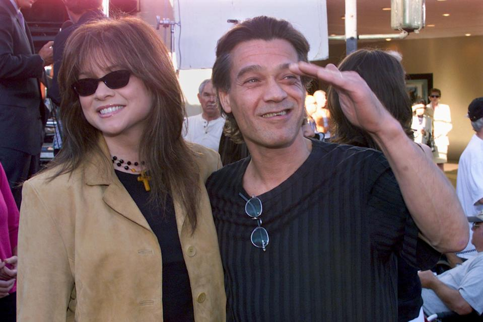 Valerie Bertinelli, here with Eddie Van Halen in 2001, tears up talking about the death of her ex-husband.