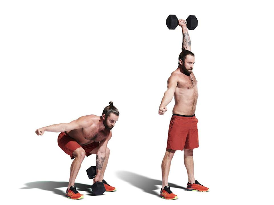 <p>Start with a dumbbell between your legs. Squat and grab it, then drive through your hips, generating momentum to pull the bell up, finishing overhead. Swap hands on the way down and alternate each rep.</p>