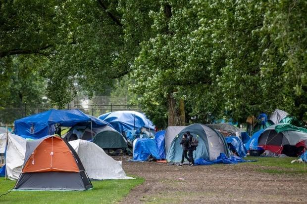 A photo of campers in their tents in Strathcona Park on July 2, 2020, shortly after the camp opened after previously being in CRAB and Oppenheimer Parks