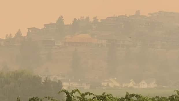 Thick wildfire smoke engulfs the city of Kelowna on Friday, where air quality reached levels 42 times worse than the maximum recommendations of the World Health Organization on Friday. (Tom Popyk/CBC - image credit)