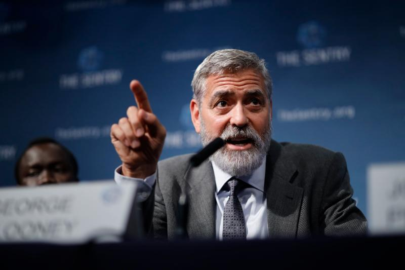 US actor George Clooney takes part in a press conference in central London to present a report on atrocities in South Sudan on September 19, 2019. (Photo by Tolga Akmen / AFP) (Photo credit should read TOLGA AKMEN/AFP via Getty Images)