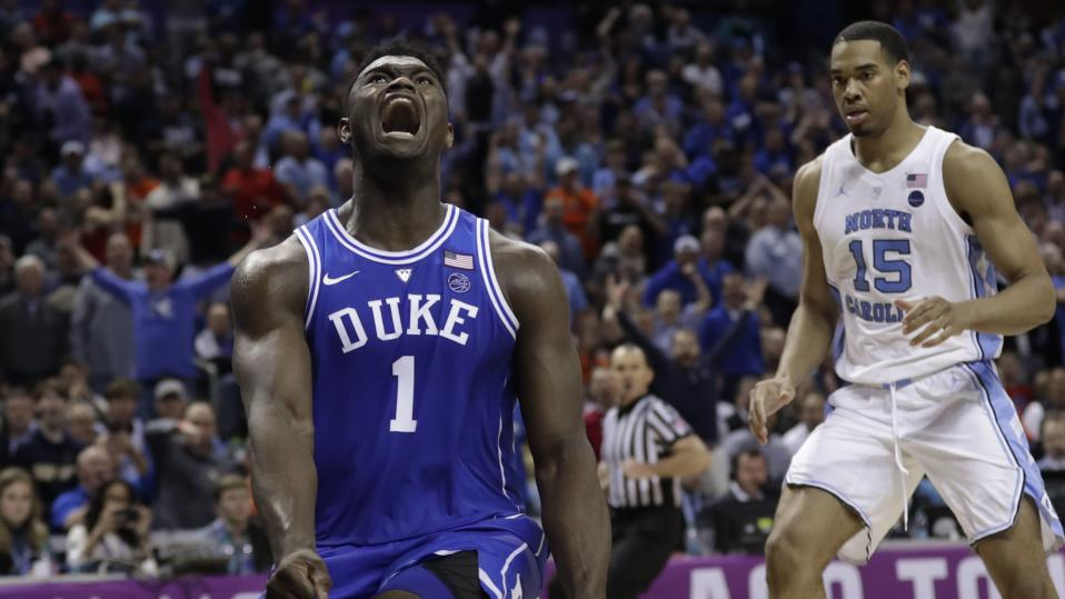 Duke's Zion Williamson reacts after a dunk, which accounted for two of his 31 points on Friday night in a victory against North Carolina. (AP)
