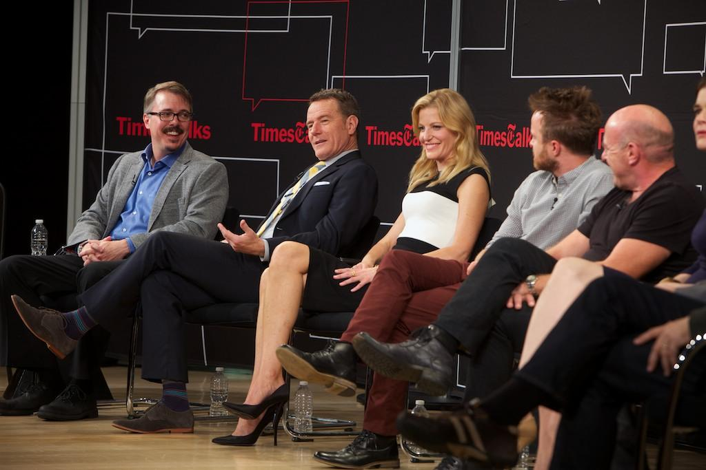 "Vince Gilligan, Bryan Cranston, Anna Gunn, Aaron Paul, Dean Norris, and Betsy Brandt attend TimesTalk Presents An Evening With ""Breaking Bad"" at Times Center on July 30, 2013 in New York City."