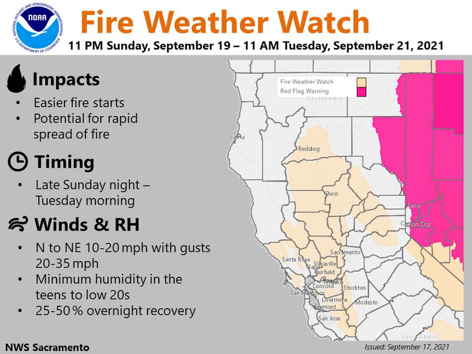 A weather service map shows a red flag warning and a fire weather watch set to take effect Sunday night.