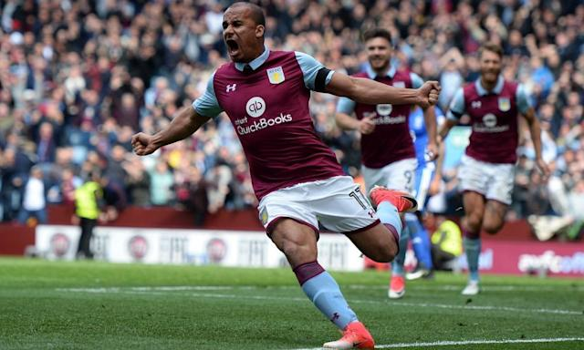"""<span class=""""element-image__caption"""">Gabriel Agbonlahor celebrates scoring what proved to be Aston Villa's winner against Birmingham City in the Championship derby at Villa Park.</span> <span class=""""element-image__credit"""">Photograph: Harry Trump/Getty Images</span>"""