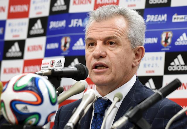 Japan coach Javier Aguirre at a press conference in Tokyo on August 28, 2014 (AFP Photo/Kazuhiro Nogi)