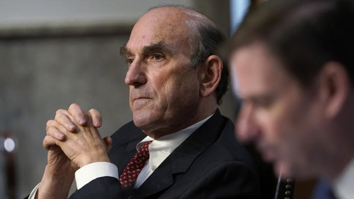 Elliott Abrams, special representative for Iran and Venezuela at the U.S. Department of State, listens during a Senate Foreign Relations Committee hearing in Washington, D.C., U.S., on Thursday, Sept. 24, 2020. (Susan Walsh/AP Photo/Bloomberg via Getty Images)