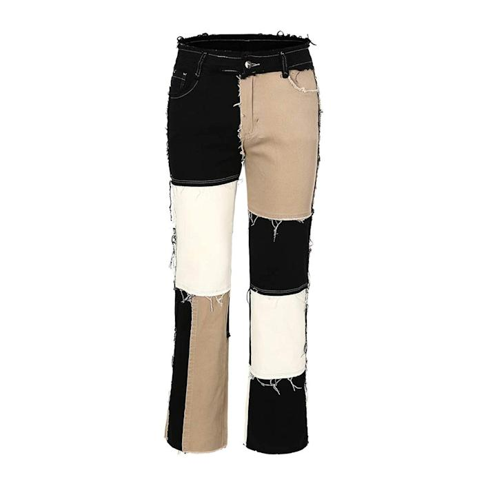 black, tan, and white patchwork denim jeans