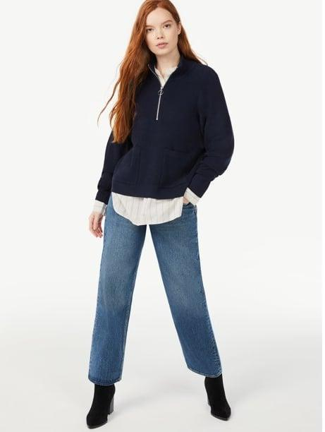 <p>It doesn't get any more on-trend than this <span>Free Assembly Women's Boxy Half-Zip Sweater</span> ($28). As much as we love the idea of lounging around in it, the comfy essential can also be styled to perfection with a collared undershirt, jeans, and boots.<br> </p> <p><br></p>