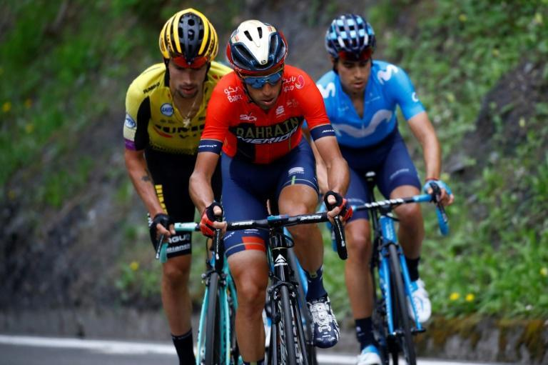 Team Bahrain rider Italy's Vincenzo Nibali (C) had another strong day on Saturday