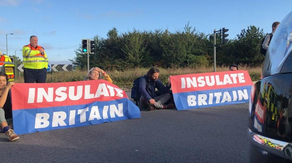 The protests have seen activists sit across the carriageways of the M25, completely blocking it to traffic (Insulate Britain/PA) (PA Media)
