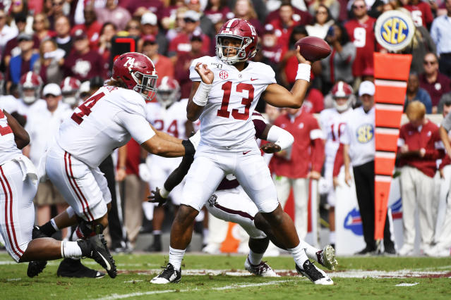 "<a class=""link rapid-noclick-resp"" href=""/ncaaf/players/274844/"" data-ylk=""slk:Tua Tagovailoa"">Tua Tagovailoa</a> has 29 total touchdowns through Alabama's first half of the season. (Photo by Logan Riely/Getty Images)"