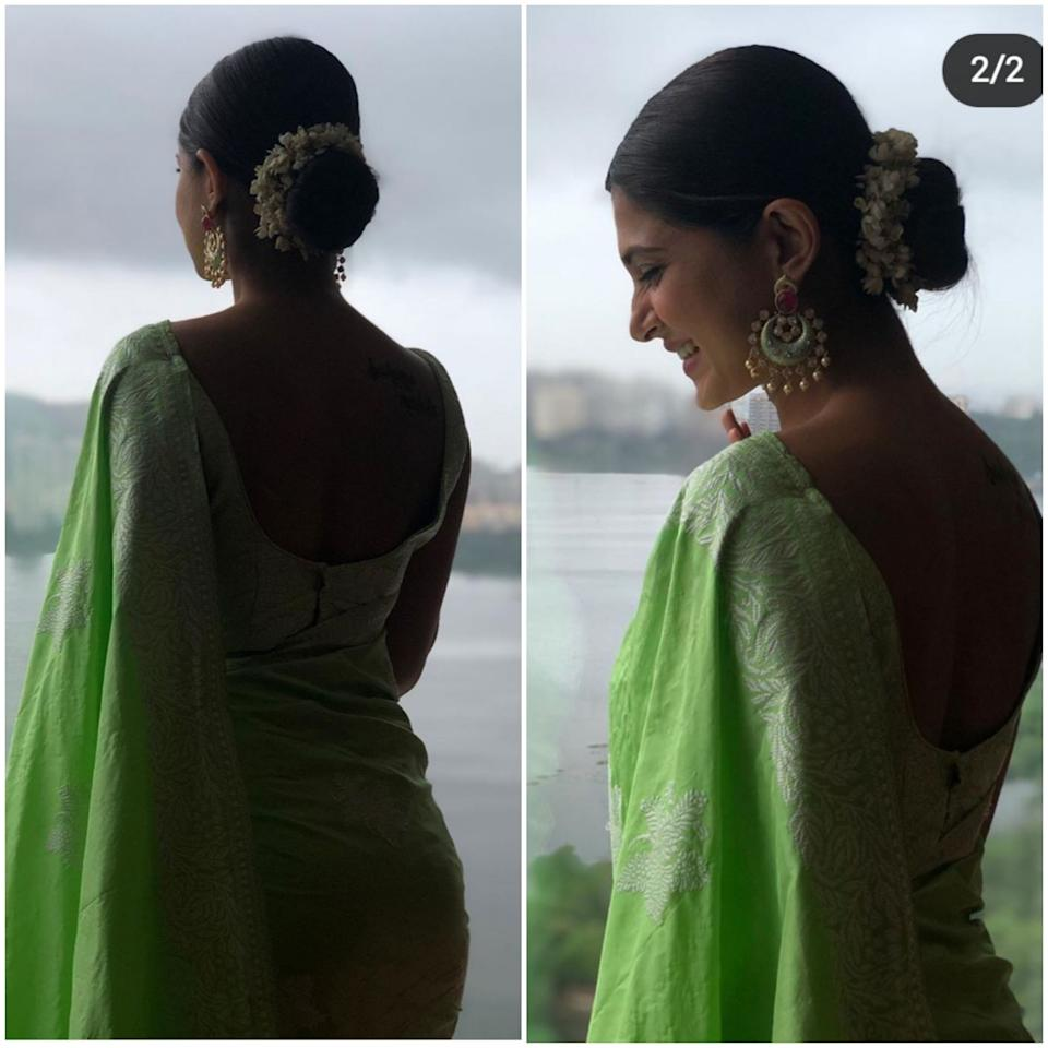 This television sweetheart dolled up in a pistachio-green saree for her friend's wedding last year. Her <em>gajra-</em>adorned bun and a pair of matching <em>chandbali </em>accentuate her lovely face and the lovelier smile.