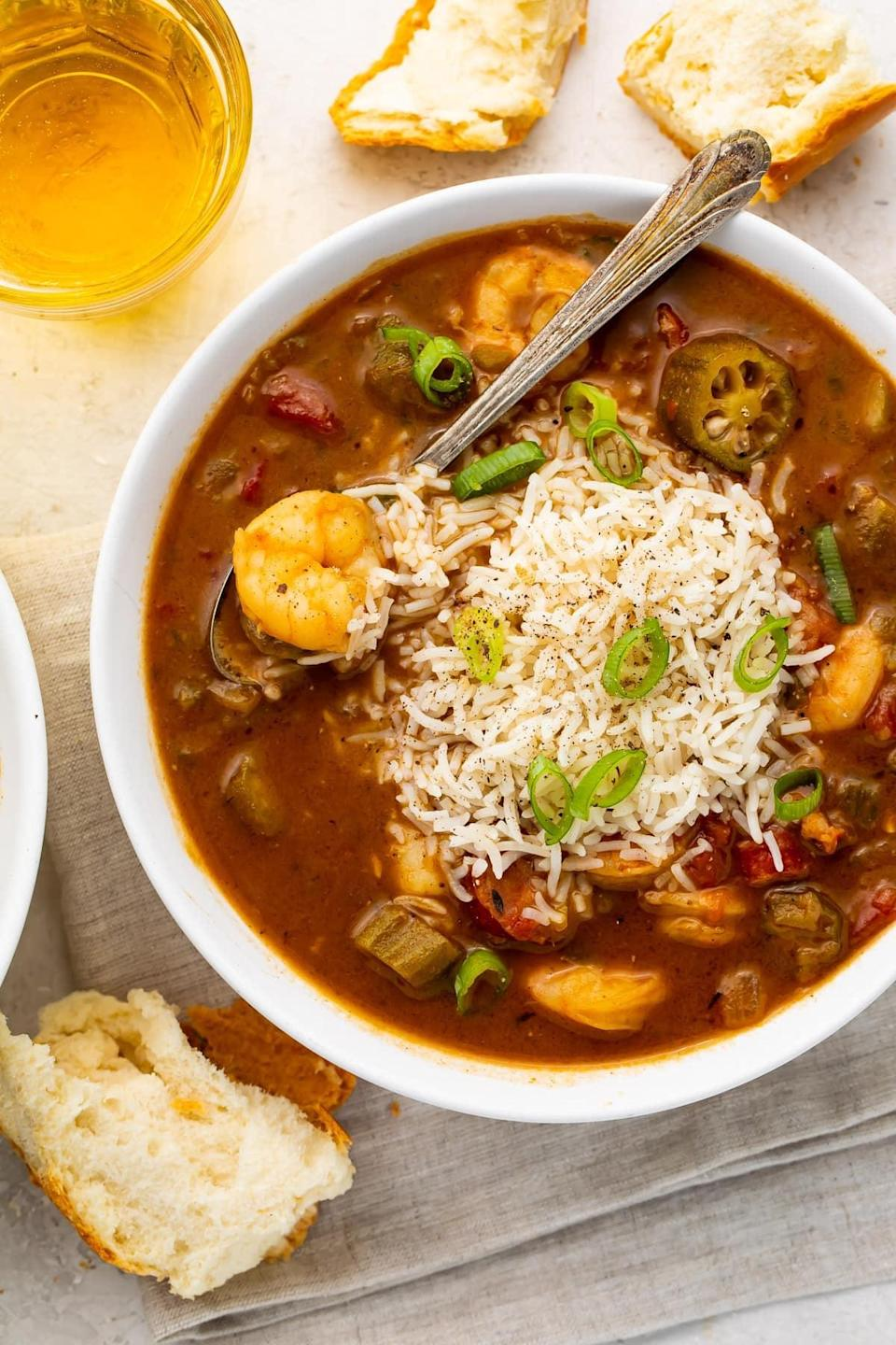 """<p>If you're in need of an authentic shrimp gumbo recipe, it doesn't get much better than this. Inspired by true New Orleans gumbo recipes, this dish is filled with andouille sausage, juicy shrimp, and all the best Cajun seasonings. </p> <p><strong>Get the recipe</strong>: <a href=""""https://40aprons.com/shrimp-andouille-gumbo/"""" class=""""link rapid-noclick-resp"""" rel=""""nofollow noopener"""" target=""""_blank"""" data-ylk=""""slk:shrimp gumbo"""">shrimp gumbo</a></p>"""