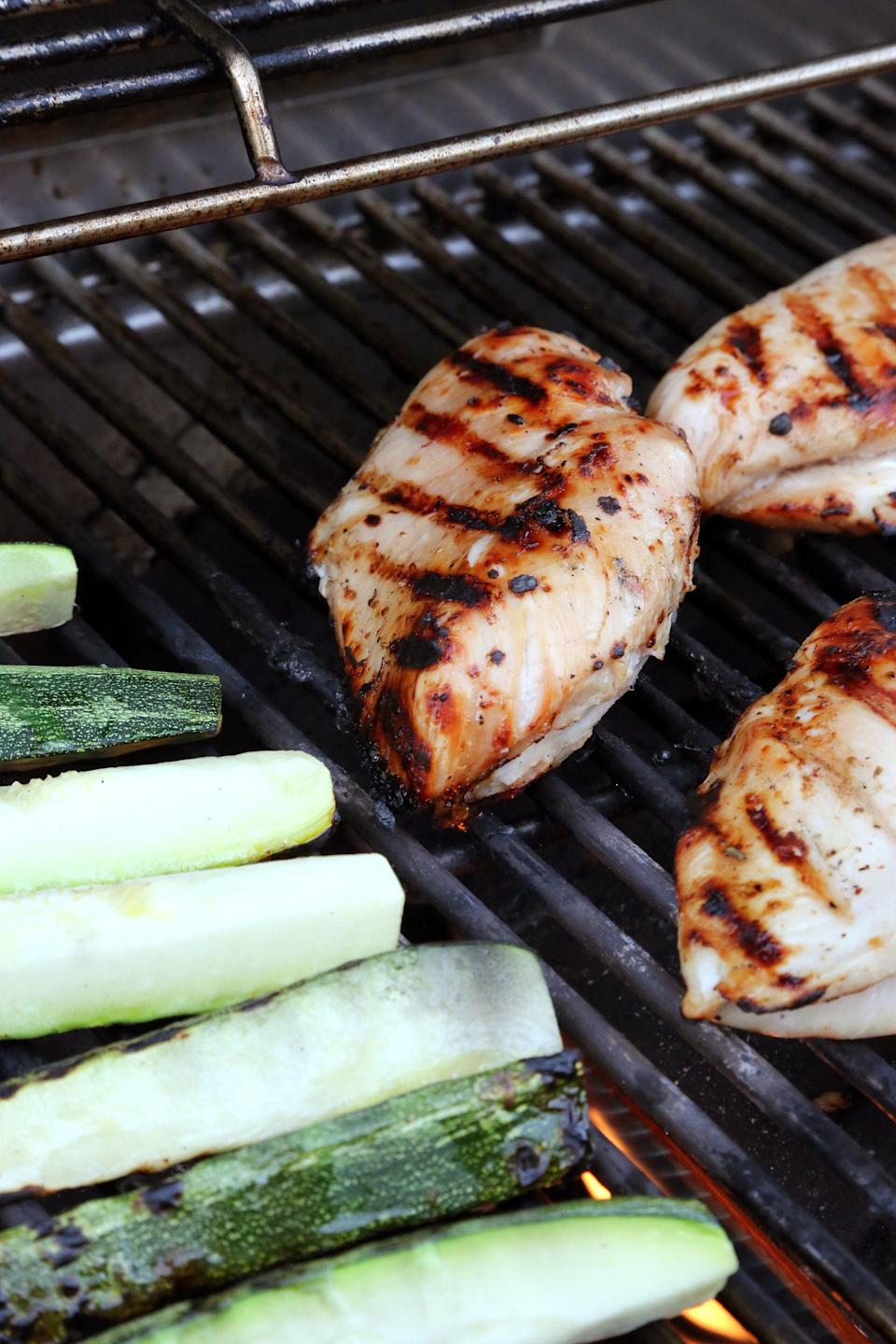 """<p>The key to keeping grilled chicken breasts completely juicy is to brine them for at least two hours and up to overnight. </p> <p><strong>Get the recipe:</strong> <a href=""""https://www.popsugar.com/food/Easy-Grilled-Chicken-Breast-Recipe-37994095"""" class=""""link rapid-noclick-resp"""" rel=""""nofollow noopener"""" target=""""_blank"""" data-ylk=""""slk:beer-brined grilled chicken breasts"""">beer-brined grilled chicken breasts</a></p>"""