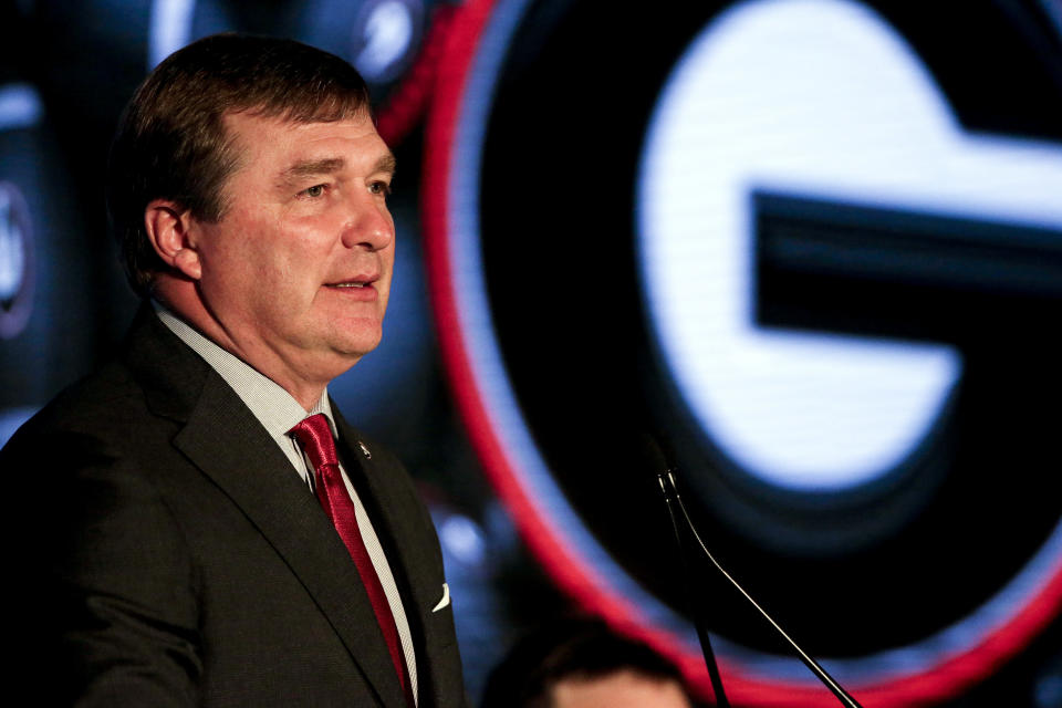 FILE - Georgia head coach Kirby Smart speaks to reporters during the NCAA college football Southeastern Conference Media Days in Hoover, Ala., in this Tuesday, July 20, 2021, file photo. Smart's biggest concern is injuries. (AP Photo/Butch Dill, File)