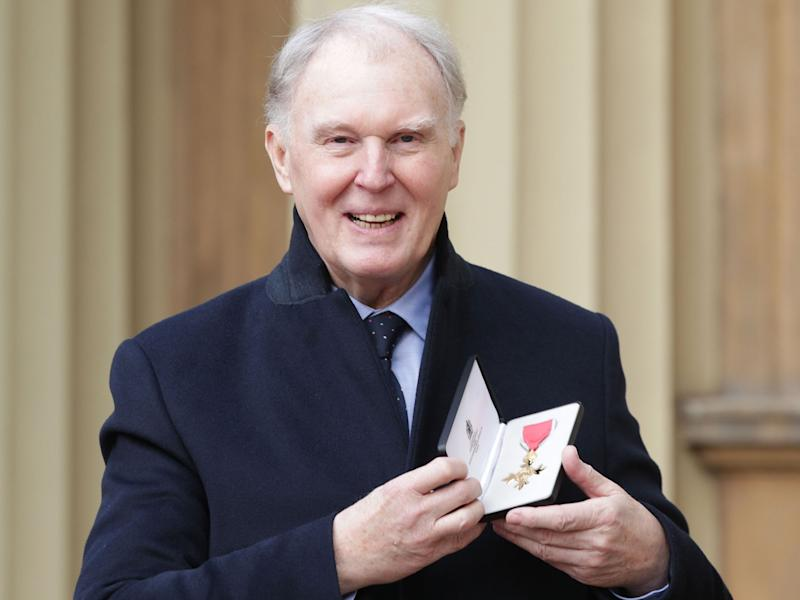 Tim Pigott-Smith at Buckingham Palace in London after receiving his OBE in March 2017: PA