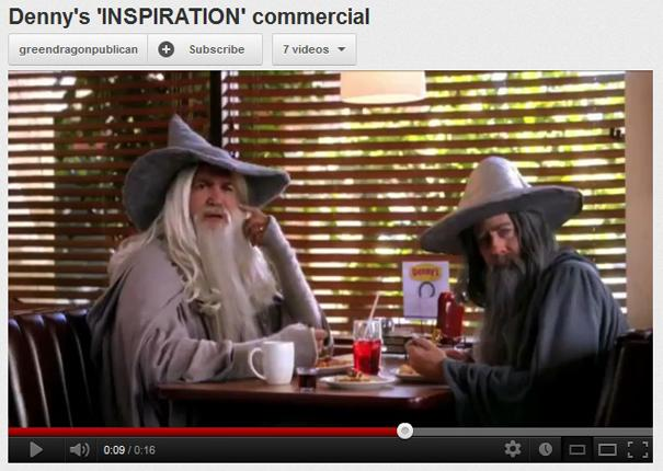 Wizards at Denny's. Screenshot from YouTube video promotion for The Hobbit.