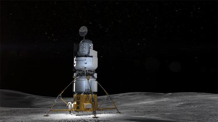 A rendering of Blue Origin's moon lander design, featuring a rocket-powered descent stage and an upper crew capsule mounted on another rocket system to propel the craft back up to lunar orbit. / Credit: Blue Origin