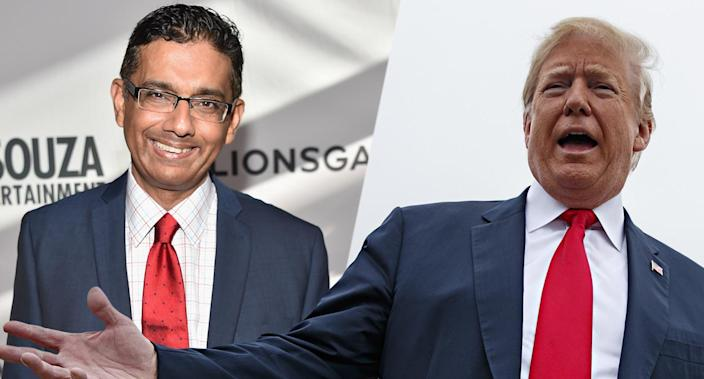 Dinesh D'Souza, Donald Trump (Photo illustration: Yahoo News; photos: Alberto E. Rodriguez/Getty Images, Evan Vucci/AP)