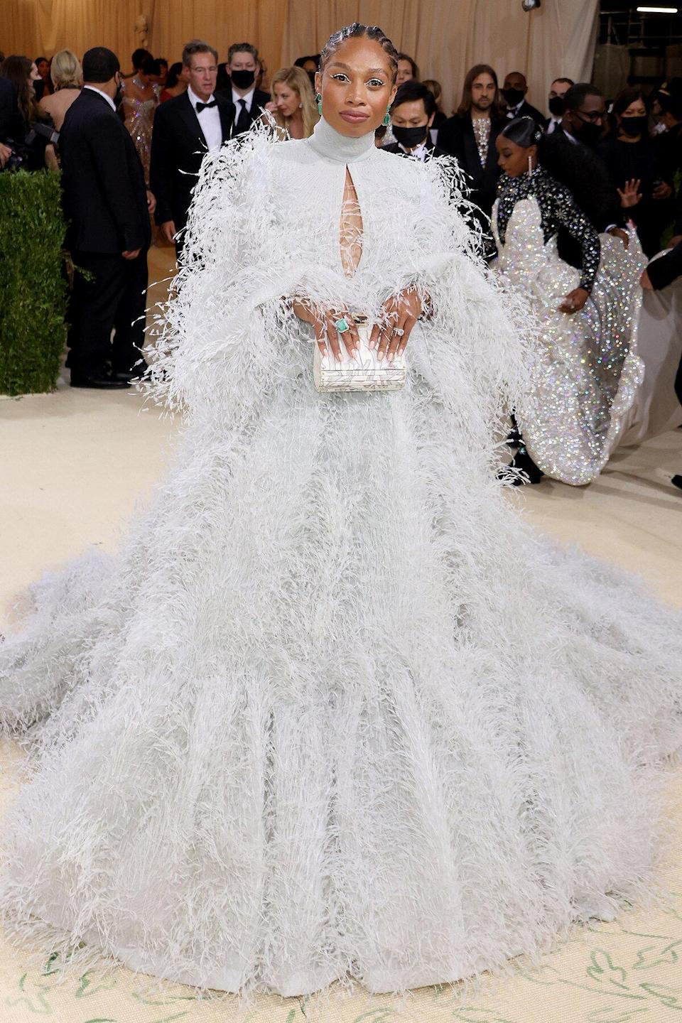 American track and field sprinter Allyson Felix attends The 2021 Met Gala Celebrating In America: A Lexicon Of Fashion at Metropolitan Museum of Art on September 13, 2021 in New York City.