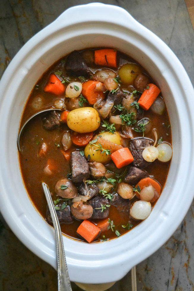 """<strong>Get the <a href=""""https://theviewfromgreatisland.com/slow-cooker-crock-pot-beef-bourguignon/"""" target=""""_blank"""">Slow Cooker Beef Bourguignon recipe</a>fromThe View From Great Island</strong>"""