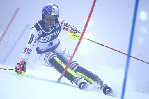 France's Alexis Pinturault speeds down the course during an alpine ski, men's World Cup slalom in Zagreb, Croatia, Wednesday, Jan. 6, 2021. (AP Photo/Marco Trovati)
