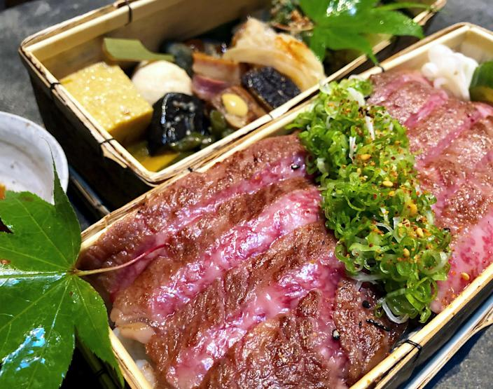 Odo's bento boxes containing grilled A5 grade Miyazaki wagyu. (Courtesy Odo)