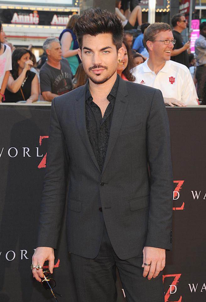"""NEW YORK, NY - JUNE 17:  Musician Adam Lambert attends the """"World War Z"""" New York Premiere at Duffy Square in Times Square on June 17, 2013 in New York City.  (Photo by Jamie McCarthy/Getty Images)"""