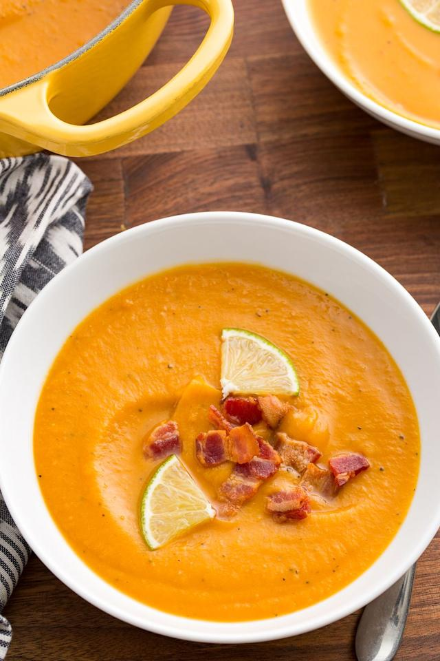 "<p>Take a break from mashing and turn sweet potatoes into this silky soup.</p><p>Get the recipe from <a rel=""nofollow"">Delish</a>.</p>"
