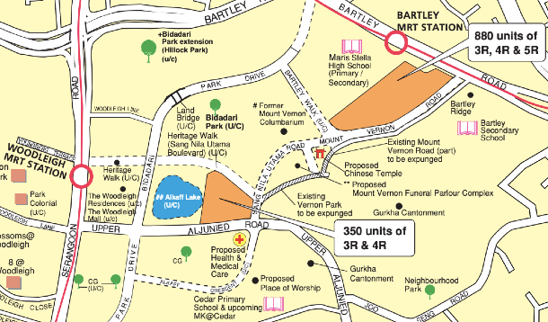 Locality map of the Toa Payoh BTO flats launching in November 2020