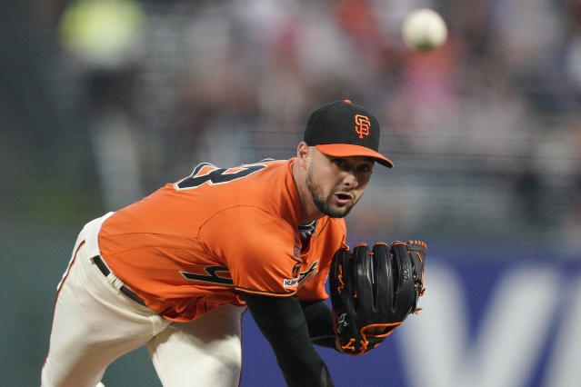 San Francisco Giants pitcher Tyler Beede works against the Miami Marlins during the first inning of a baseball game Friday, Sept. 13, 2019, in San Francisco. (AP Photo/Tony Avelar)