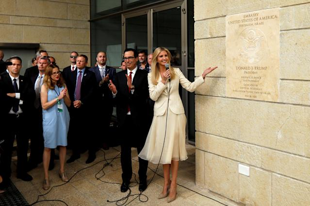 Senior White House Adviser Ivanka Trump and U.S. Treasury Secretary Steven Mnuchin stand next to the dedication plaque at the new U.S. embassy during the dedication ceremony in Jerusalem, May 14, 2018. (Photo: Ronen Zvulun/Reuters)