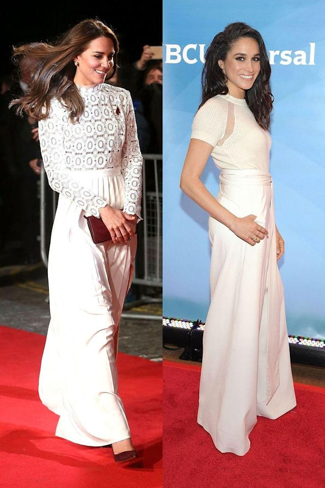 <p>Kate and Meghan both wear white on a regular basis, but Meghan's look here actually is two pieces - a pair of pants and a top. Kate was attending the premiere of <em>A Street Cat Named Bob</em> in London when she wore this outfit, and Meghan was at NBC's summer press day while she was still an actress on <em>Suits</em>. </p>