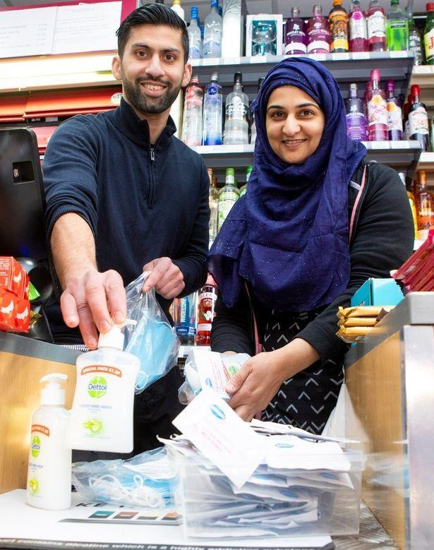 Shopkeepers Asiyah and Jawad Javed are donating thousands of pounds worth of essential items to local pensioners. (Katielee Arrowsmith SWNS)