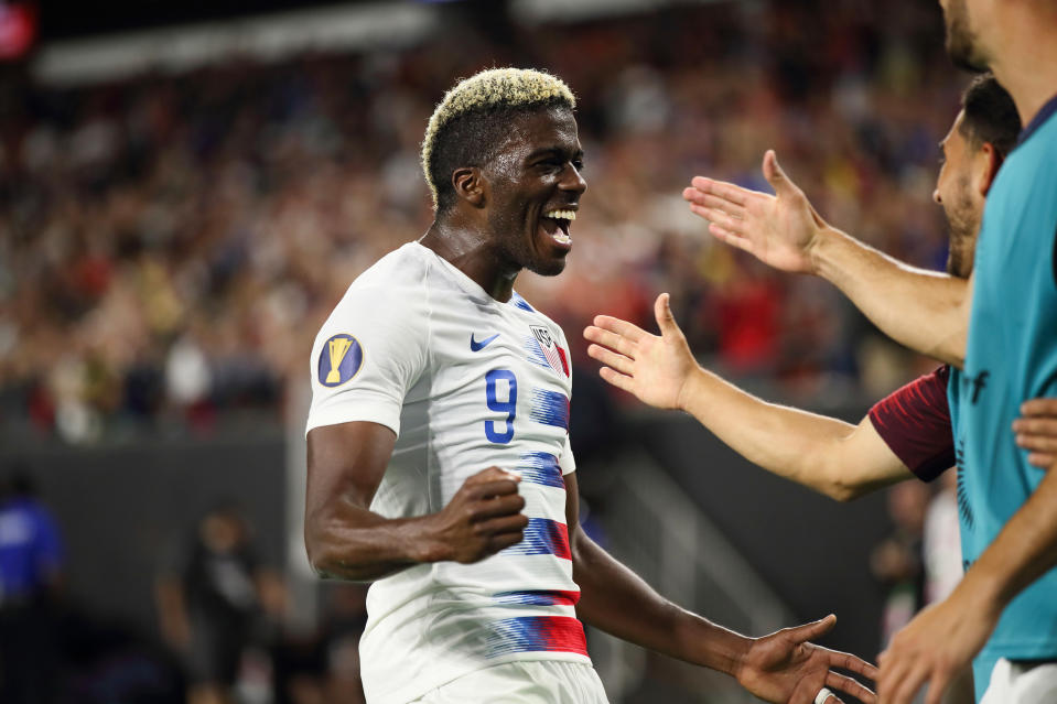 CLEVELAND, OH - JUNE 22: Gyasi Zardes of USA celebrates after scoring a goal to make it 4-0 during the Group D 2019 CONCACAF Gold Cup fixture between United States of America and Trinidad & Tobago at FirstEnergy Stadium on June 22, 2019 in Cleveland, Ohio. (Photo by Matthew Ashton - AMA/Getty Images)