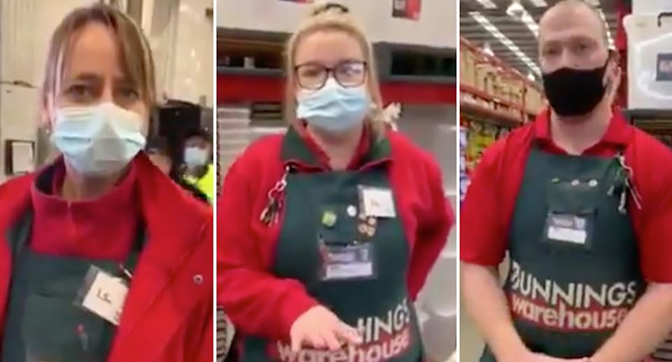The woman filmed herself being verbally aggressive with a number of Bunnings staff. Source: Facebook