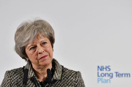 Britain's Prime Minister Theresa May looks on during the launch of the NHS Long Term Plan at Alder Hey Children's Hospital in Liverpool, Britain January 7, 2019. Anthony Devlin/Pool via REUTERS