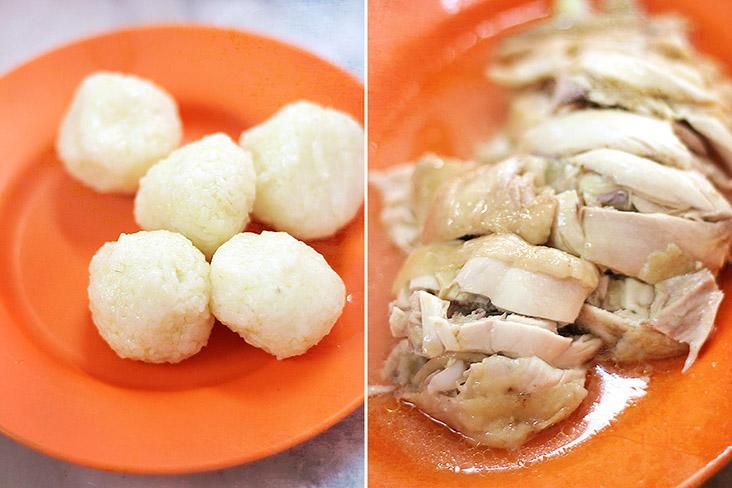 Malaccan style chicken rice features addictive chicken rice balls.