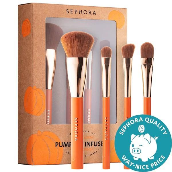 <p>If you prefer brushes to apply your makeup, make a seasonal switch with this <span>Sephora Collection Mini Pumpkin-Infused Brush Set</span> ($18) that also packs moisture-aiding pumpkin powder.</p>