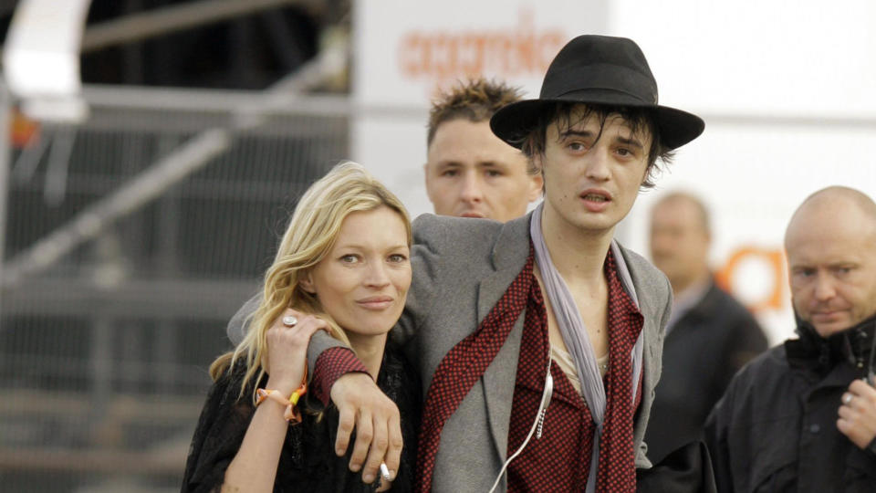 Pete Doherty and Kate Moss at the 2007 Glastonbury Festival. (Photo by Yui Mok/PA Images via Getty Images)